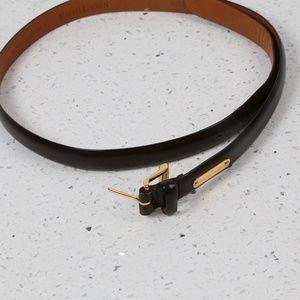 RALPH LAUREN Brown Leather Gold Metal Buckle Belt